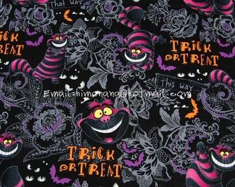 al009 - 1 Yard SDLP Cotton Woven Fabric - Cartoon Characters, The Cheshire Cat, Alice in Wonderland - Black (W140)