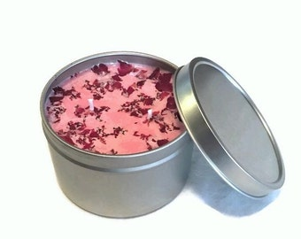 8 oz Geranium Scented Soy Candle Handmade - Gift Woman - Anniversary Gift - Geranium Candle - Rose Scented Candle - Handmade Candles