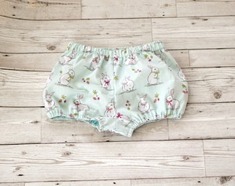 Baby girls bunny bloomers in sage green fabric
