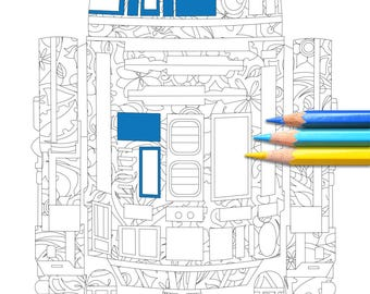 Botanic R2-D2 - Star Wars Colouring Page