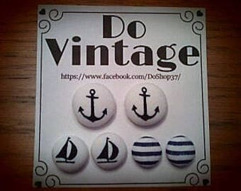 "Trio earrings Vintage fabric ""nautical"" style"