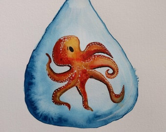 Original Octopus in a Droplet Watercolor Painting