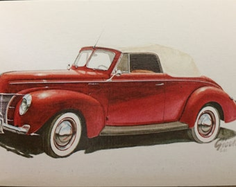 Vintage Red and Chrome 1940 Ford Deluxe Convertible Lithograph Graphic for Card-Making and Scrapbook Projects