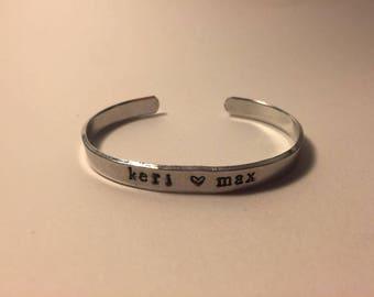 Customized Couple Name Hand Stamp Bracelet - Aluminum Personalized Bangle - Couple gift