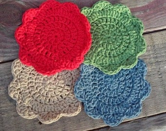 Cotton Drink Coasters - Flower