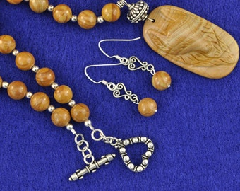 Carved Wood Jasper Wolf .925 Necklace and Earring Set