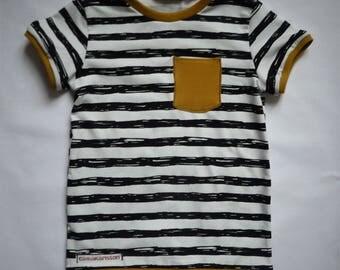 T-Shirt for Kinder,gestreift,Schwarz/Weiß/senfgelb,Gr.68-146 available, summer T-shirt Kids T-shirt, maritim