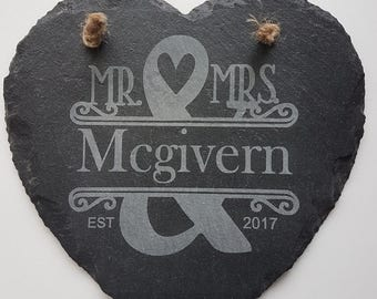 Personalised Wedding Gift/ Mr and Mrs, Wedding Date, Heart Slate Wall Decor/ Bride and Groom/ hanging sign/ unique keepsake, Newley wed gift