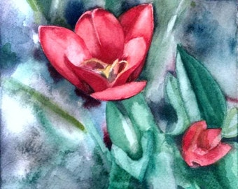 Red Lily Flower Tulip ~ original watercolor painting
