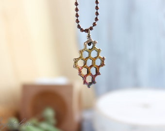 copper plated real honeycomb necklace, metal necklace, electroformed honeycomb