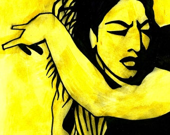 "Contemporary original artwork. Black ink line work on yellow background. ""Flamenco Dancer"""