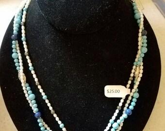 Aqua and white freshwater and swarovski pearls