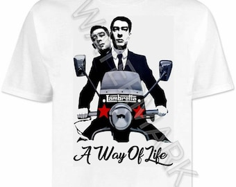 Quadrophenia T shirt / shirts . The Krays . vespa . lambretta mods northern soul scooter scene