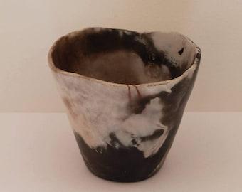 Terracotta pitfired minimalist black white vase