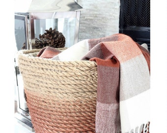 Burlap and rope storage basket