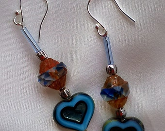 Mid blue moulded glass heart and faceted crystal drop earring