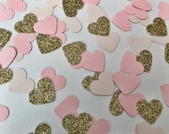 Heart Confetti, Wedding Confetti, Bridal Shower Confetti, Gold Glitter Confetti, Paper Hearts, Tiny Heart Confetti, Blush Confetti, Pink