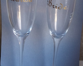Custom name decal for glass /champagne flutes/ two-word combination,