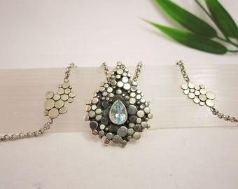 Artistic silver necklace with Aquamarine gemstone / jewelryexhibition / unique handmade statementpiece / jewelryart / artjewelry