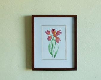 Watercolour Original Painting - Tulips