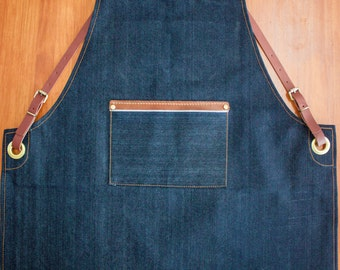 Limited Selvedge Denim & Leather strap Apron