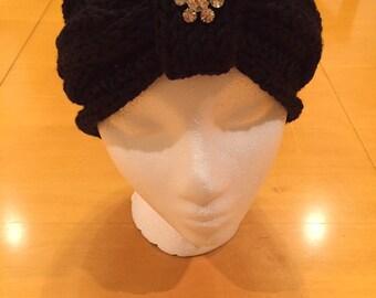 Handmade Black Knit Head Wrap