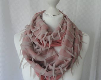 Dusky pink chiffon georgette infinity scarf, Circle scarf, Pink ribbon scarf, Scarf for her, Lightweight scarf, Fashion scarf