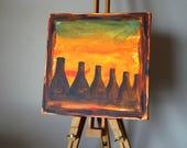 """BOTTLE OVENS TWYFORDS Painting """"Bottle Ovens at Twyfords Etruria in 1950"""" inspired by The Potteries. Acrylic on canvas 12"""" x 12"""""""