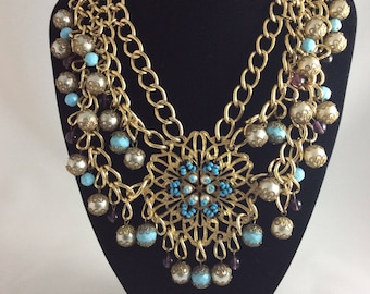 Fab 1960's Statement Necklace Faux Turquoise, Pearls and Glass Beads
