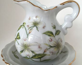 Lefton China Dogwood Pitcher and Bowl, Lefton Dogwood Pattern 02871 with Gold Trim,