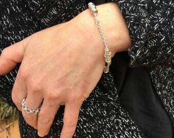 Sterling Silver Chain Bracelet, Modern Bracelet, Minimalist Bracelet, Silver Coil Bracelet, Delicate Bracelet, Layering Bracelet, Modern