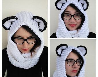 Crochet cowl, infinity scarf with hood or Scoodie with ears