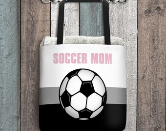 "Soccer Mom Tote Bag - Pink Gray Black - Soccer Ball illustration - All Over Print 15"" Tote Bag"