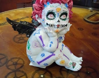"""Angelot """"Day Of the Dead"""" OOAK figurine -  handmade spooky / gothic angel"""