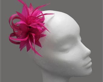Wedding hair clip, fuschia fascinator, pink headpiece, sinamay loops & floral feather effect, made to order, special occasion, bridesmaid