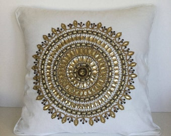 Hand embellished decorative pillow cover