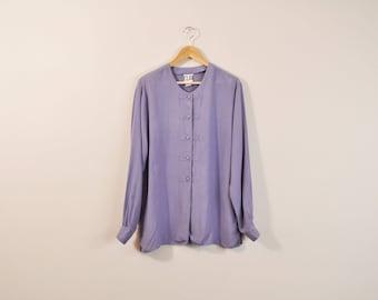 Oversized Silk Blouse, 90s Minimal Blouse, Minimal Silk Top, Oversize Blouse, Purple Blouse, Long Sleeve Button Up, 90s Silk Tunic