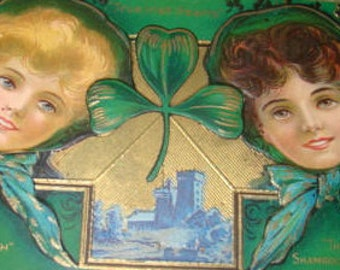 Vintage Embossed St. Patricks Day Postcard (Pretty Ladies)
