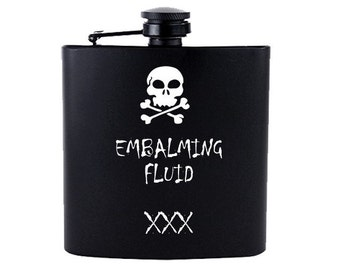 Embalming Fluid // Gift for Him // Funny Flask // Hip Flask for Men // 21st Birthday Gift // 7 oz
