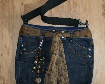Shoulder bag of jeans, blue, with bag