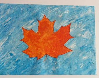 Abstract Maple Leaf Painting
