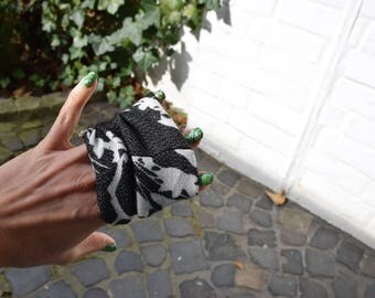Floral X-Ray Black & White Floral Print Loop for Scarves