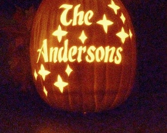Custom carved pumpkin with family name, family name jack-o'-lantern, carved foam pumpkin, pumpkin carving, housewarming gift