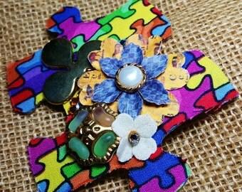 Autism Awareness Brooch- Garden