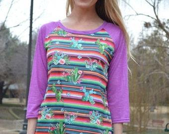 Knit Baseball Tee Serape cactus print purple sleeves