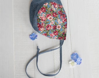 Sweet Baby Bonnet Blue Chambray Floral Classic Heirloom Baby Shower Gift Photo Prop Reversible Modern Amish Cap