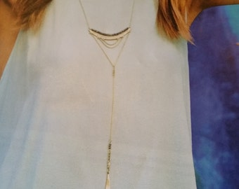 Silpada Cascading Y necklace with brass Good Vibes two tone ear rings!
