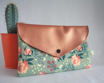 Organic cotton pouch and faux leather
