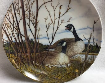 Dominion China Wings Upon the Wind Collector Plate - Nesting - Canada Geese (#044)