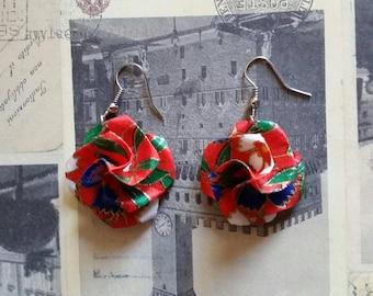 Red Origami Paper Flower Earrings